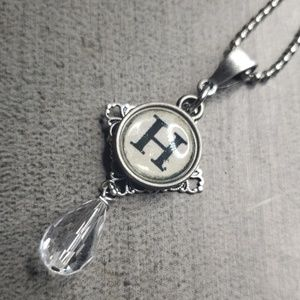 Jewelry - Alphabet initial H typewriter charm necklace